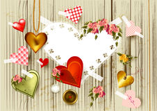 Valentine's day background with  hearts from gold, lace an Stock Photo