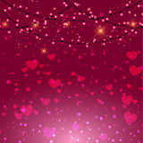 Valentine's Day background with hearts and lights Stock Photo