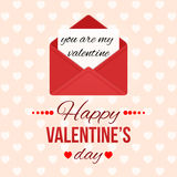 Valentine`s day background with hearts. Love message. Red open envelope with letter. Romantic mail Holiday greeting card. Valentine`s day background with hearts Royalty Free Stock Photos