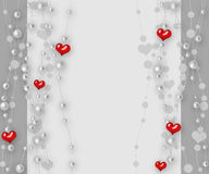 Valentine's day background with hearts and pearl Stock Images