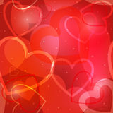 Valentine`s day background with hearts. Red Valentine`s day background with hearts Stock Images