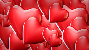 Valentine`s Day background with hearts, red shiny hearts 3D illustration Stock Images
