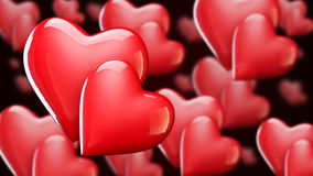 Valentine`s Day background with hearts, red shiny hearts 3D illustration Royalty Free Stock Photos