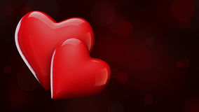 Valentine`s Day background with hearts, red shiny hearts 3D illustration Royalty Free Stock Photo