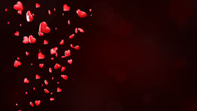 Valentine`s Day background with hearts, red shiny hearts tornado 3D illustration Stock Photo