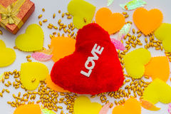 Valentine's day background with hearts on white background. Stock Images