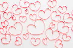 Valentine's day background with hearts on white background. Royalty Free Stock Photos