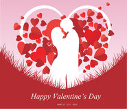 Valentine's Day background with a kissing couple silhouette, heart shaped tree Royalty Free Stock Photo