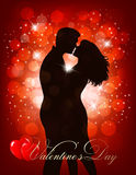 Valentine's Day background with a kissing couple silhouette Royalty Free Stock Photography