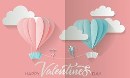 Valentine`s day background with lettering text happy valentines day and young couple boy and girl go to meet each other on royalty free illustration