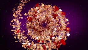 Valentine`s Day background loopable red hearts moving towards the center of the screen perfect background for lovers. Circular rotating spiral of gold and red stock footage