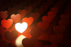 Valentine`s day background. Love concept. One glowing heart in a Royalty Free Stock Photos