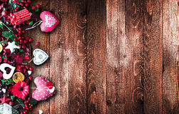Valentine`s Day Background with love themed elements like cotton and paper hearts Royalty Free Stock Images