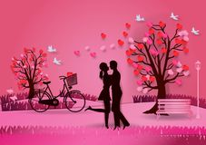Valentine`s day background with man and woman in love   Stock Photography
