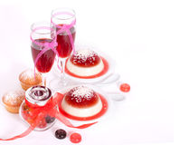 Valentine`s Day background with panacotta. Stock Photography