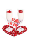 Valentine`s Day background with panacotta. Stock Photo