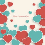 Valentine's day background with paper hearts. Stock Images