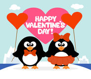 Valentine's day  background with penguins Stock Photos