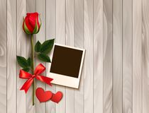 Valentine's day background with photo, hearts, and a rose. Vector royalty free illustration