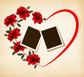 Valentine`s day background with photos and roses. Stock Photo