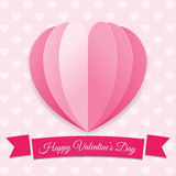 Valentine`s day background. Pink big heart with ribbon. Romantic Symbol of love. Creative modern vector illustration Stock Images