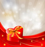 Valentine`s day background with red gift box Royalty Free Stock Image