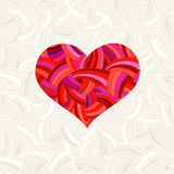 Valentine's Day background with red heart. Heart under the mask - editable for your design. Royalty Free Stock Image