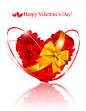 Valentine`s day background. Red heart made of rose petals with g Royalty Free Stock Photo