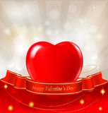 Valentine`s day background. Red heart with a ribbo Royalty Free Stock Image