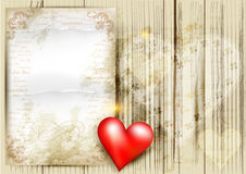 Valentine's day background with red heart on wooden texture Stock Photos