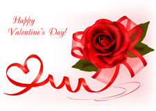 Valentine`s day background. Red rose with ribbons Royalty Free Stock Images