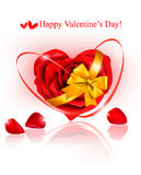 Valentine`s day background. Red rose with ribbons Stock Photography