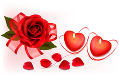 Valentine`s Day Background. Red Roses And Two Heart Candles. Royalty Free Stock Photo