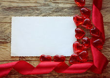Valentine's Day background with ribbon, heart Stock Photos