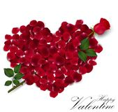 Valentine's day background with rose petals heart Royalty Free Stock Photos