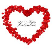 Valentine's day background with rose petals heart Stock Images