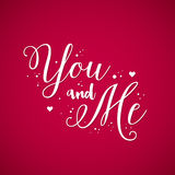 Valentine's Day background with text You and Me Stock Images