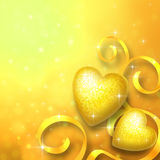 Valentine's day background with two golden hearts Royalty Free Stock Photos