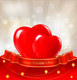 Valentine`s day background. Two red hearts. With a ribbon. Vector illustration royalty free illustration