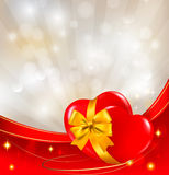 Valentine`s day background. Two red hearts with a  Royalty Free Stock Photos