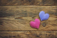 Valentine`s day background, two simple fabric heart Royalty Free Stock Photography