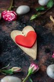 Valentine's day background. Two valentine's hearts on rustic surface. Valentine's day background. Two valentine's hearts on rustic surface royalty free stock photos