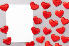 Valentine`s Day Background. Red hearts on grey background Stock Images