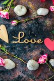 Valentine's day background. Rustic and black stock photo