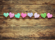 Valentine`s day background, various fabric heart Stock Image
