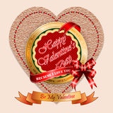 Valentine's Day background with vintage linen in a shape of heart  backdrop. Vintage Happy Valentine's Day background with Because I Love You and Be My Valentine Stock Photos