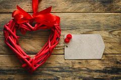 Valentine`s day background, wicker red heart Royalty Free Stock Photography