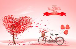 Free Valentine`s Day Background With A Heart Shaped Tree And A Tandem Bicycle Stock Images - 139029854