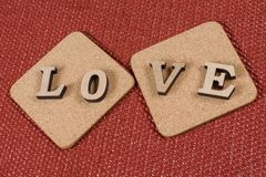 Valentine`s Day, the word love on two cork stands. royalty free stock photo
