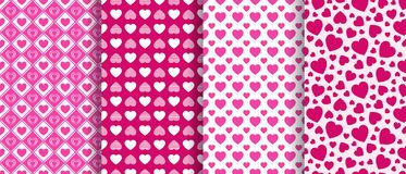 Valentine`s Day backgrounds set. Love hearts icons seamless patterns collection. Abstract repeated texture. Red hearts stock illustration